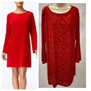 ECI Floral Velvet Dress Bell Sleeve Scarlet Red